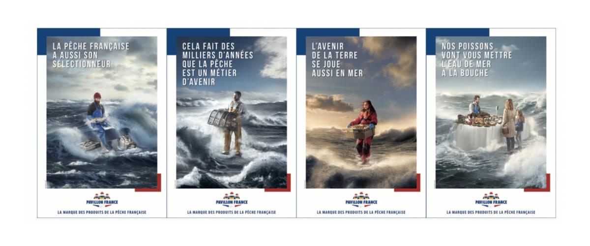 Affiches de campagne, pêcheurs dans l'eau