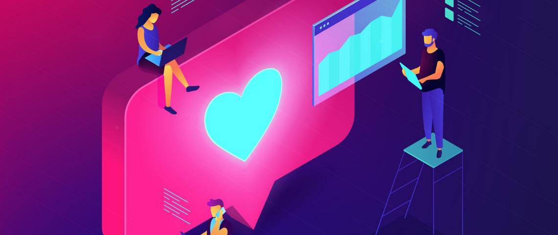 Des ingénieurs dessinés travaillent autour d'un bouton like réseaux sociaux