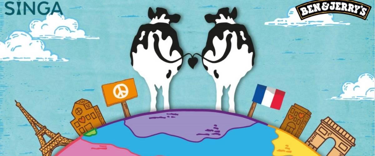Deux vaches, de dos sur globe terrestre.