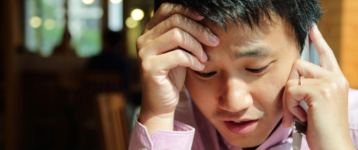 Un chinois en détresse au téléphone