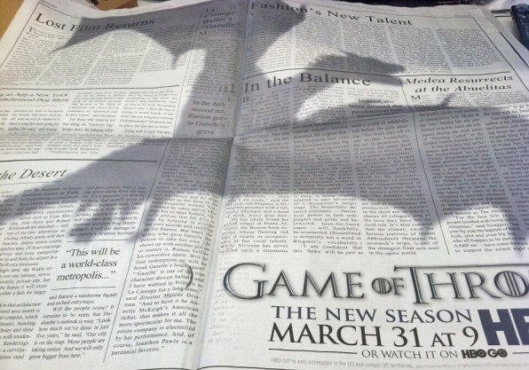 Pub Game of Thrones dans le NY Times
