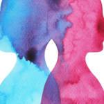 Deux formes humaines, bleu et rouge
