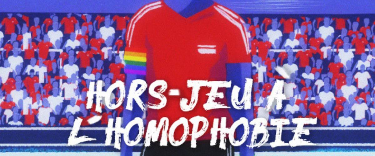 Illustration d'un footballeur portant un brassard aux couleurs LGBT ( arc-en-ciel)