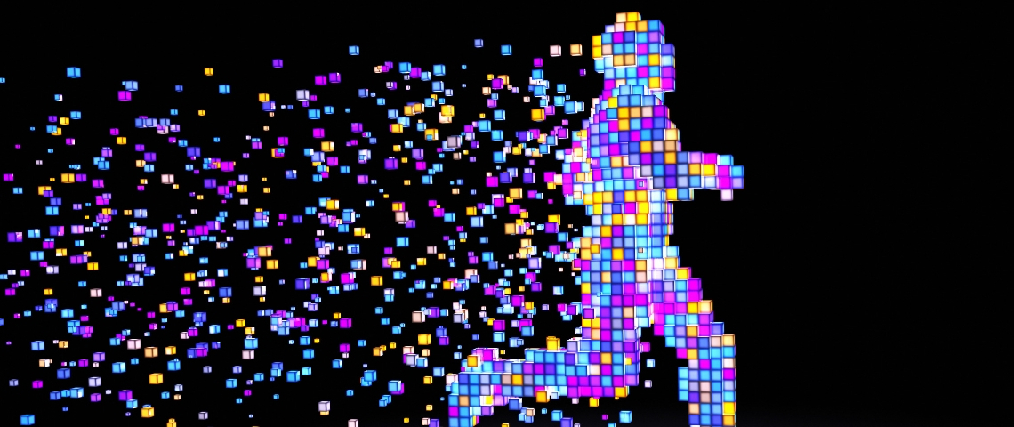 une sihouette d'homme en train de courir réalisé en pixels de couleur