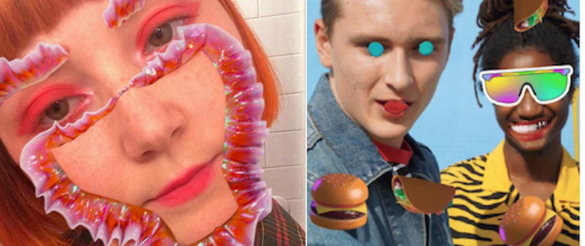 visage avec filtre et stickers sur instagram