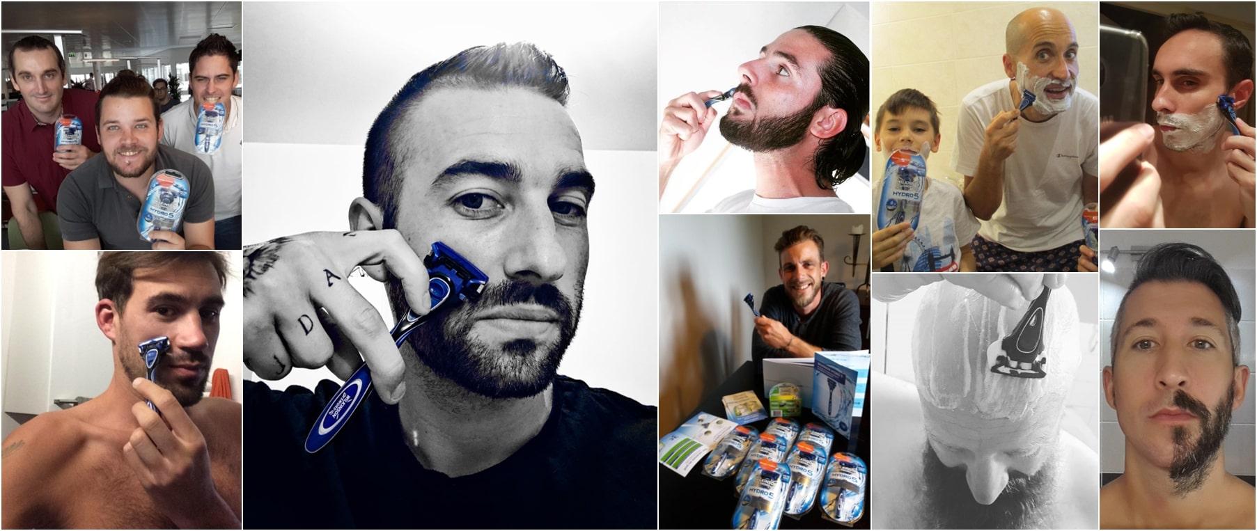 Des influenceurs qui utilisent des rasoirs Wilkinson