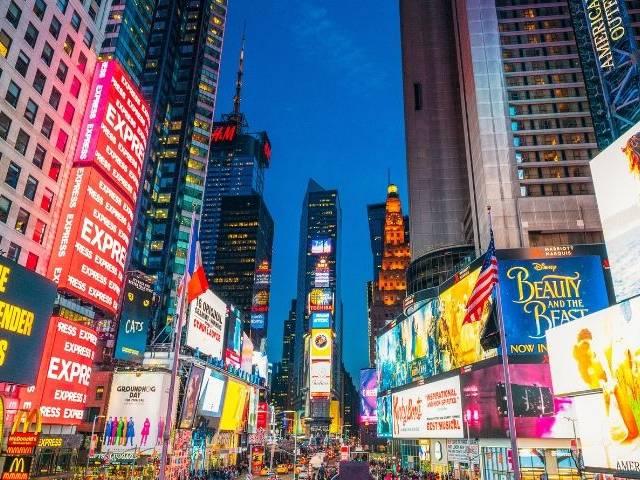 Time square lumières marques publicité