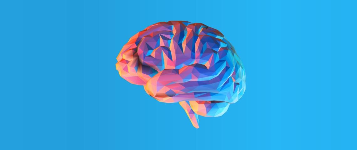 Un cerveau en origami sur un fond bleu