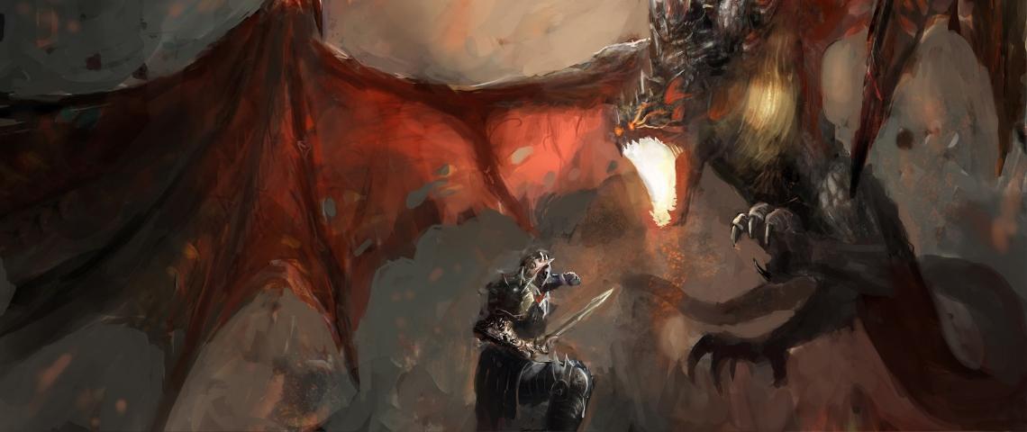 Un chevalier en train de se battre contre un dragon