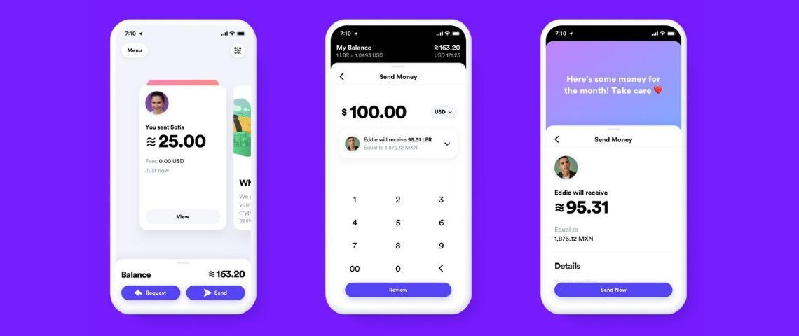 Captures d'écrans de l'interface Facebook Libra