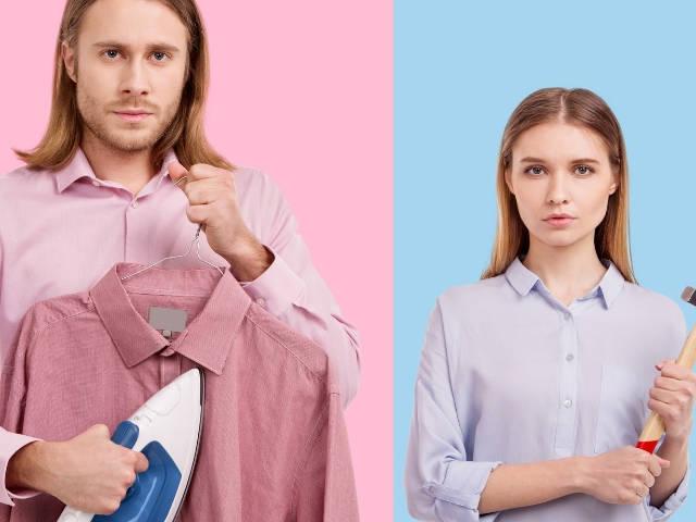 un homme en rose et une femme en bleu
