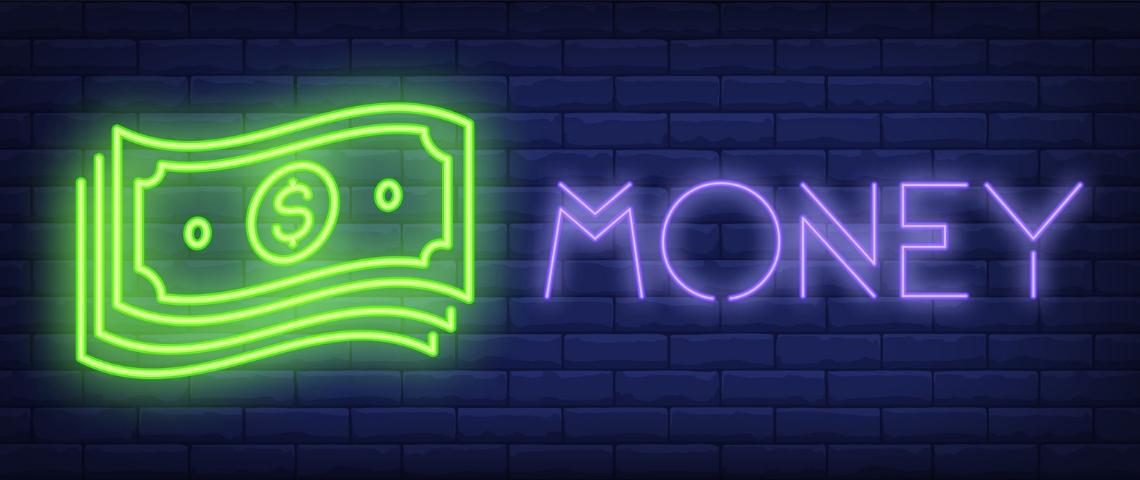 Un signe lumineux avec des billets de banque et l'inscription Money
