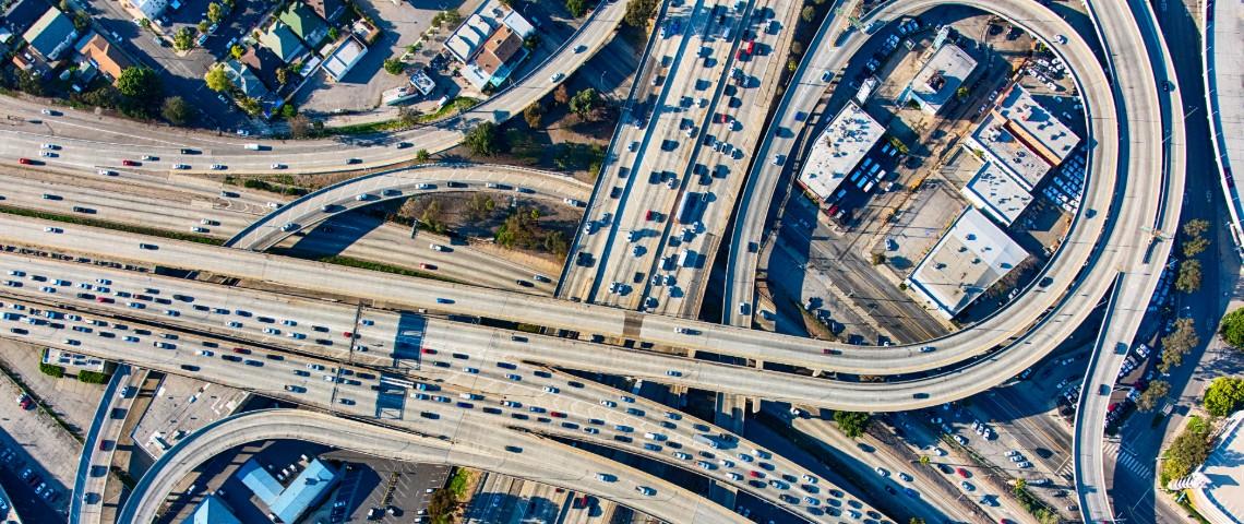 Périphérique de Los Angeles vu du ciel.