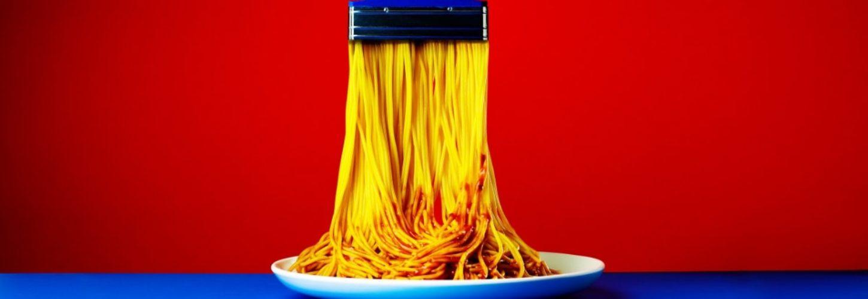 Un pinceau qui se transforme en spaghetti