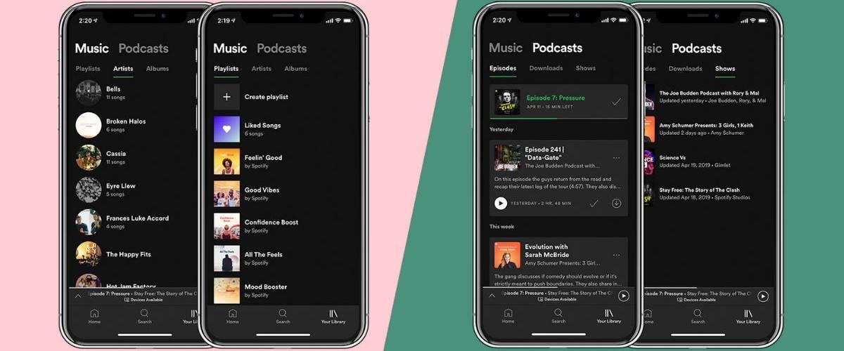 Smartphone avec la nouvelle version de la plateforme de streaming musical Spotify
