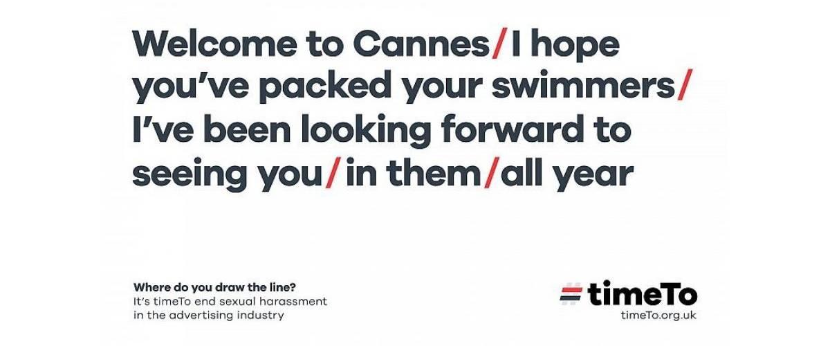 « Bienvenue à Cannes / Attention à ne pas se brûler / Je peux mettre de la crème solaire sur votre dos / Et sur le devant / Ne soyez pas timides – Ou est la limite ? »