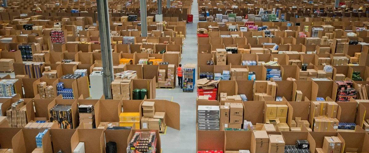 Un entrepôts de livraison Amazon