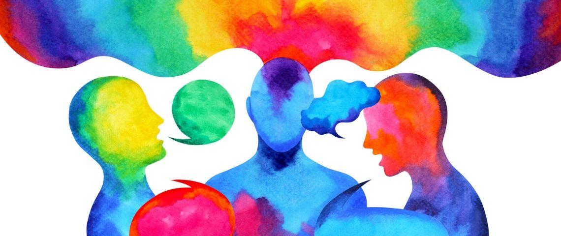 Des formes humaines discutent en couleurs