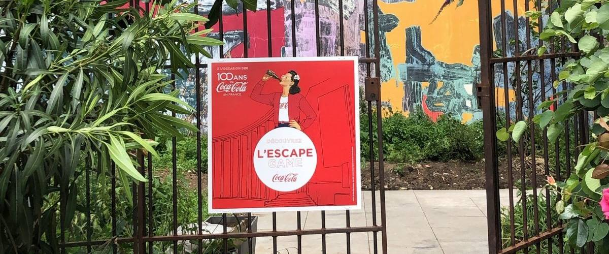 Affiche d'entrée de l'escape game Coca-Cola France