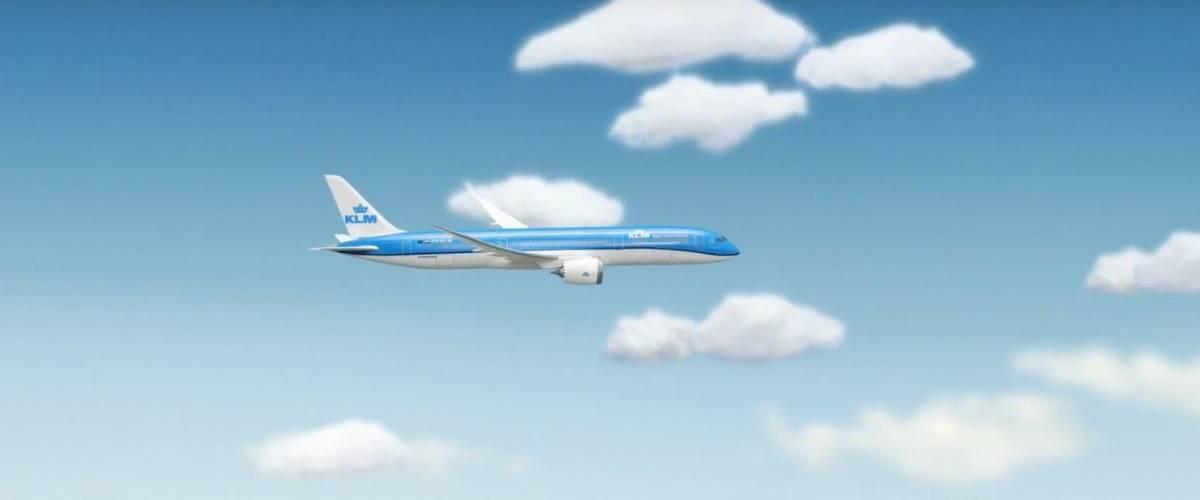 Un avion bleu de la compagnie KLM Dutch Airlines dans le ciel