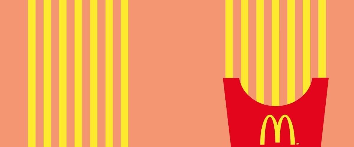 Affiche minimaliste d'une barquette de frite en direction d'un restaurant Mcdonald's