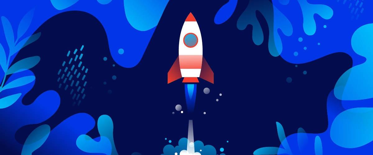 Dessin d'une fusée sur un fond bleu