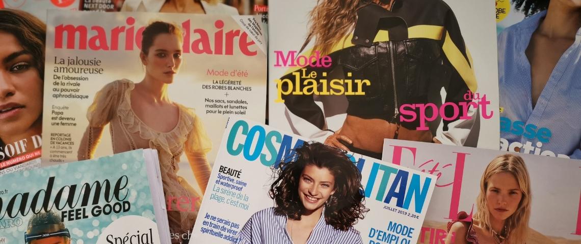 Des magazines féminin disposé en patchwork