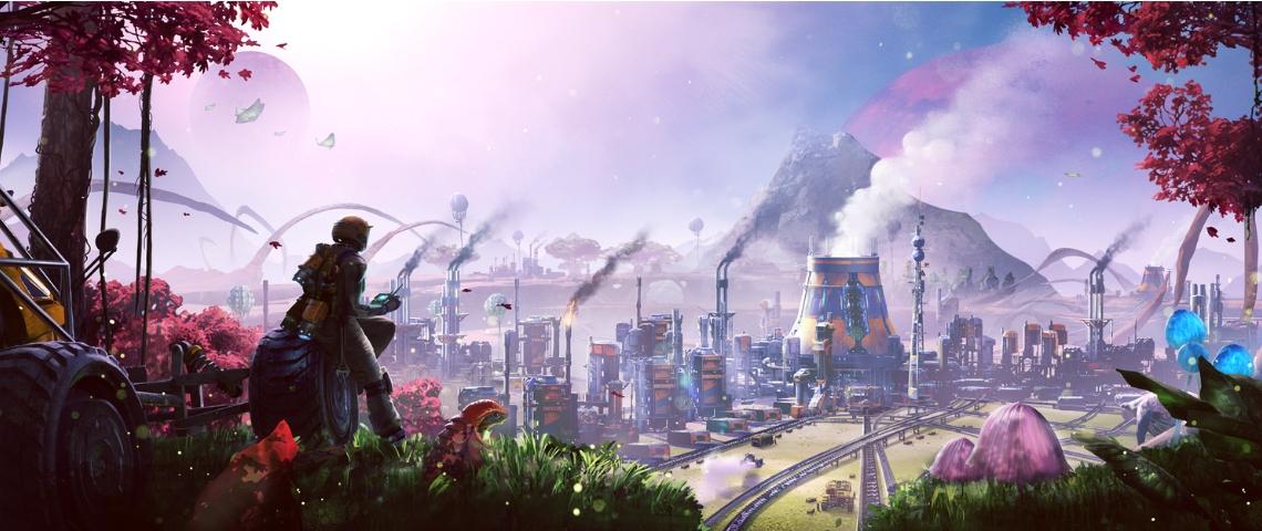 un paysage de planète extraterrestre avec des usines à perte de vue