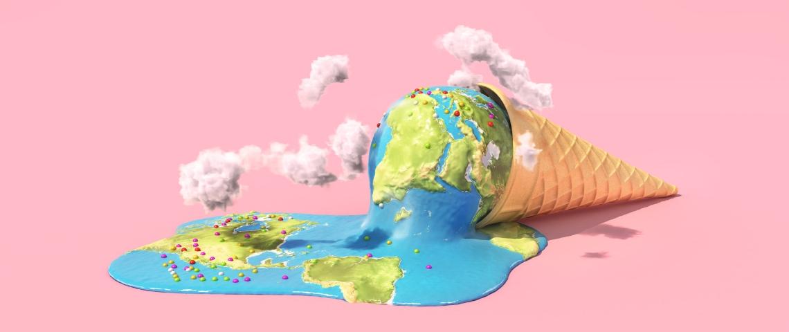 Une glace dont la boule est une Terre en train de fondre