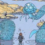 un dessin montrant un monstre aquatique sortant des eaux