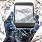 Un smartphone dans la main d'une main dessinée