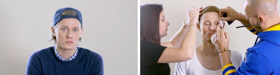 Visuel de la seance maquillage pour transformer l'acteur qui se fera passer pour une femme