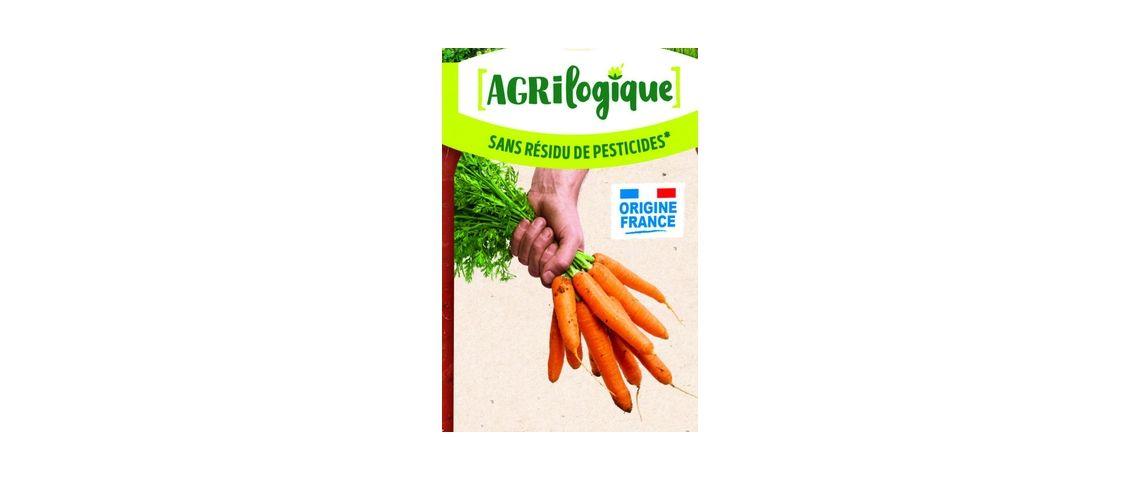 Visuel d'un sachet de carotte sans résidus de pesticides issue de la démarche Agrologique du groupe Agrial
