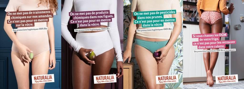 montage de visuels de la campagne de sensibilsation de Naturalia sur le bien-être intime