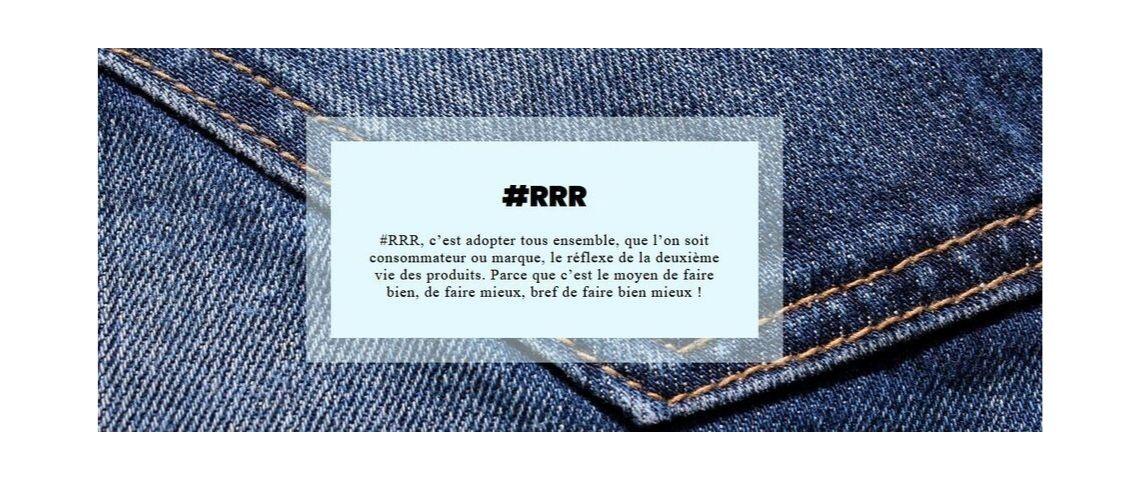 Visuel avec la définition du mot clé de la campagne de communication pour le recyclage des textiles usagés : RRR pour Réparer, Réutiliser et Recycler