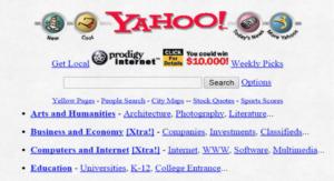 page d'accueil de Yahoo dans les années 1990