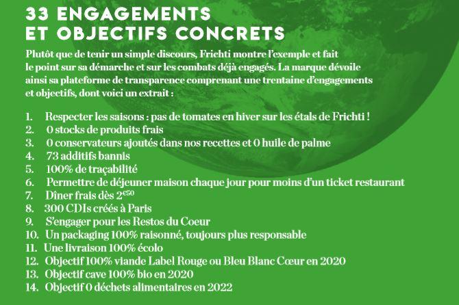 Liste des 33 engagements de Frichti dans le cadre de sa démarche  Build The Future of Food