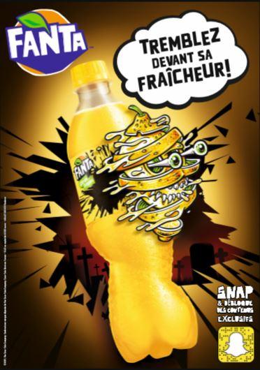 Visuel d'une cantte Fanta Citron avec le slogan : Tremblez devant sa fraicheur