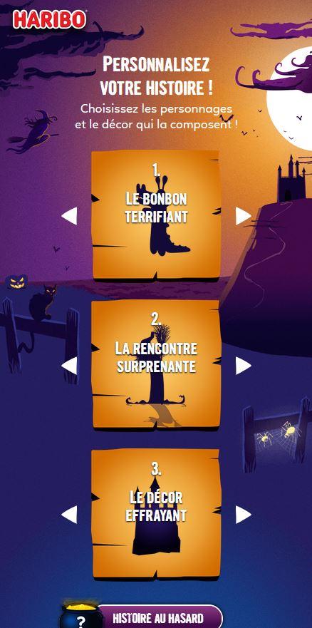 Visuel de l'interface d'Haribo pour Halloween