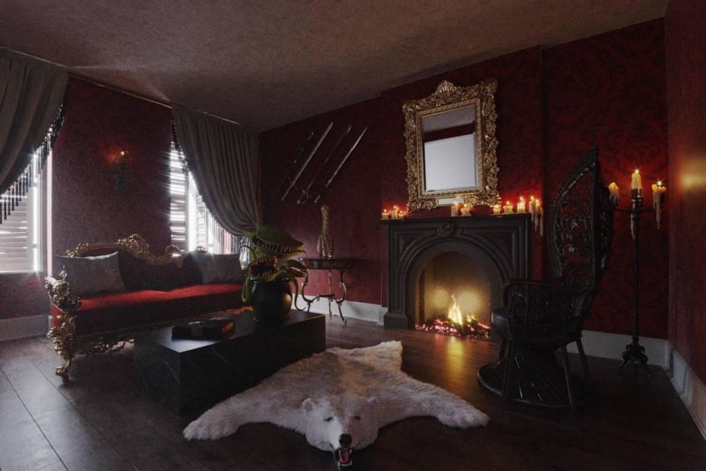 Viusel de la chambre du manoir reconstitué de la famille Adams