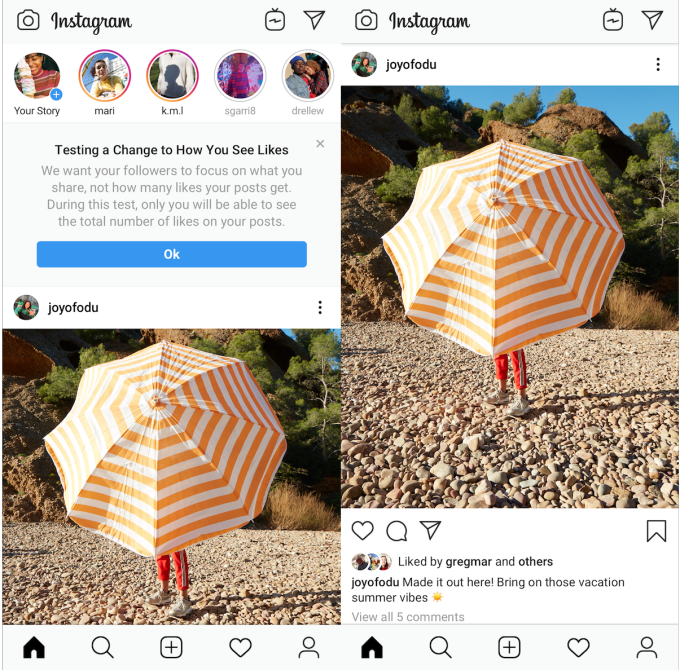 Instagram cache les likes