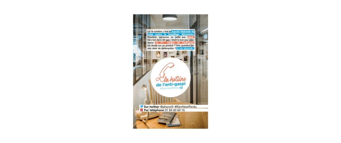 Visuel de la campagne de communication de Phénix pour le lancement de sa hotline anti-gaspi