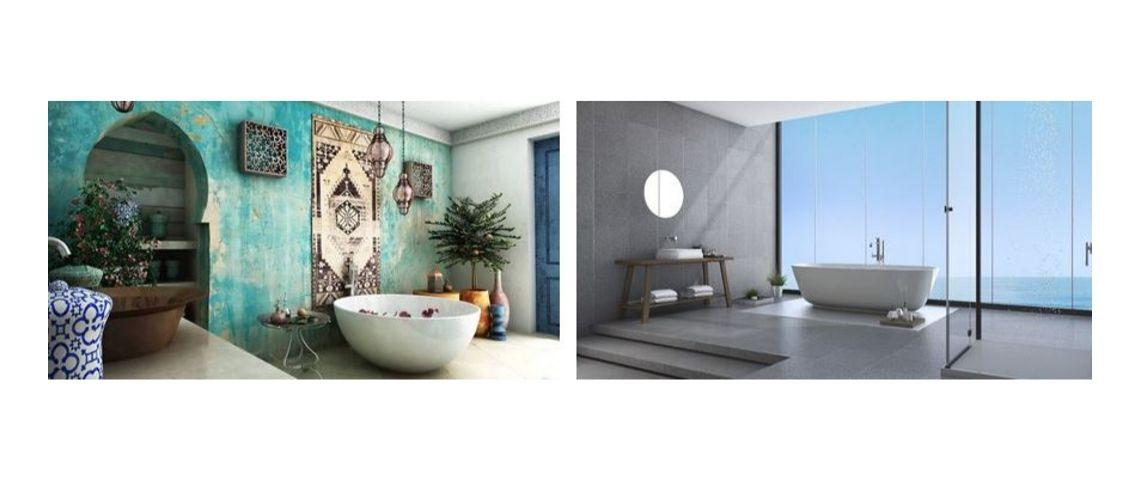 Photo de 2 salles dans des styles différents, l'une à l'orientale et l'autre moderne avec vue sur mer