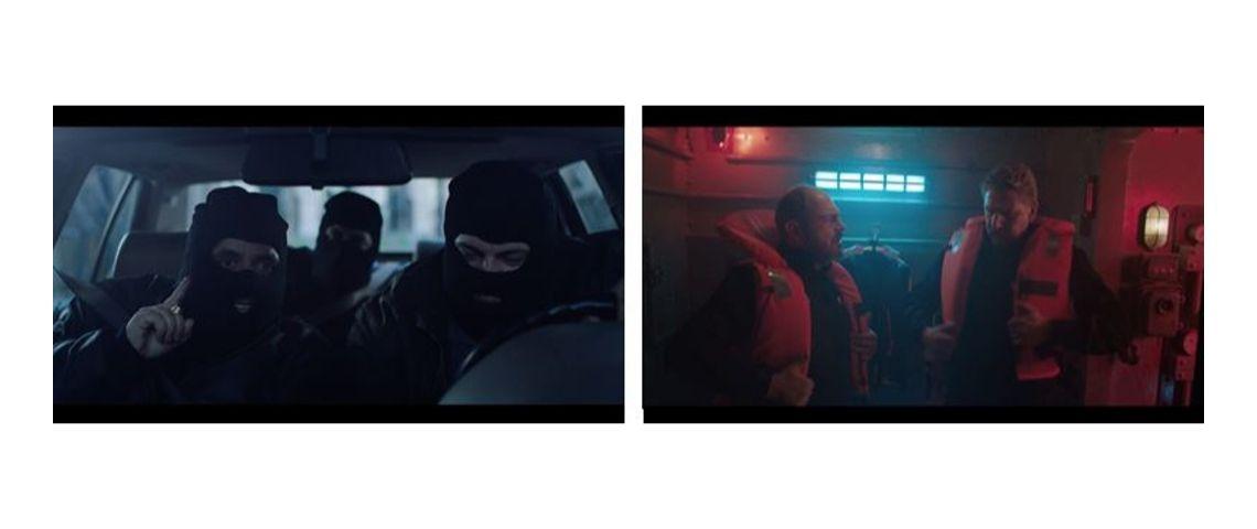 Visuels des 2 vidéos de la campagne Mc Donalds et TBWA/Paris - A gauche des braqueurs cagoulés dans une voiture et à droite des hommes dans un sous marin avec des gilets de sauvetage