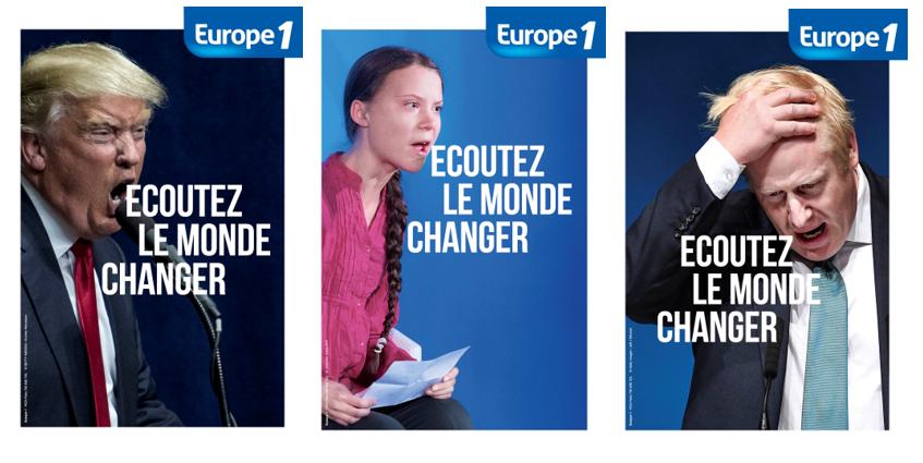 Triptyque de visuels de la campagne Ecotez le monde changer d'Europe 1