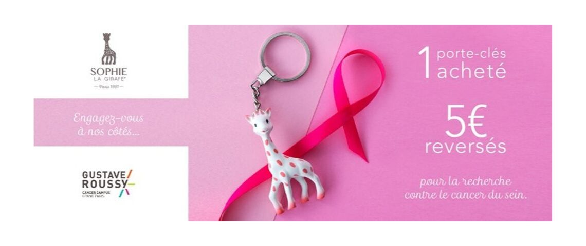visuel de sophie la girafe version poids rose dans le cadre de la campagne de communication contre le cancer du sein
