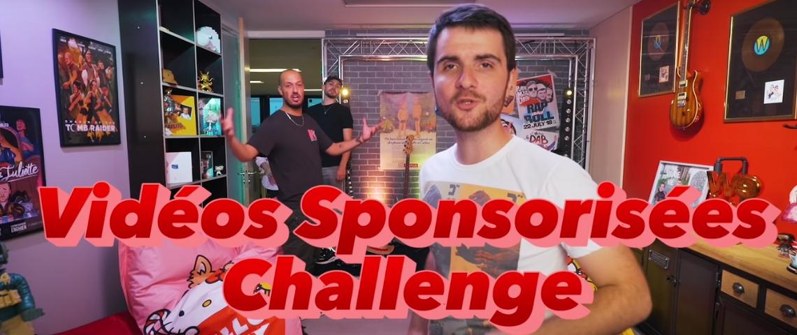 un youtubeur qui lance sa vidéo avec le titre  - vidéos sponsorisés challenge -