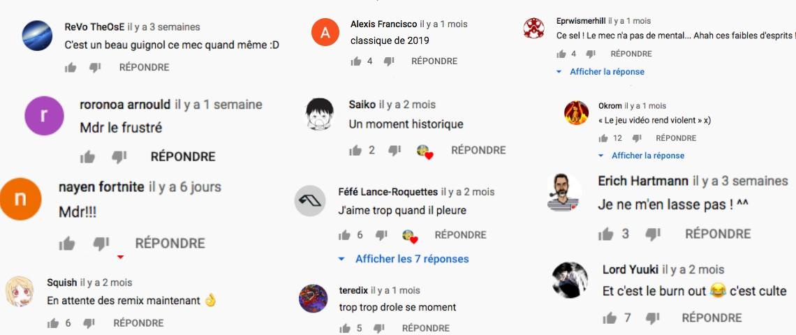 Des capture d'écrans montrant de nombreuses réactions de fans qui s'amusent des colères de Sardoche