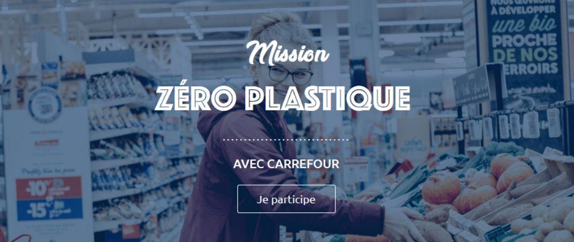 Capture 'écran de la plateforme participative de Carrefour : « Mission zéro plastique »