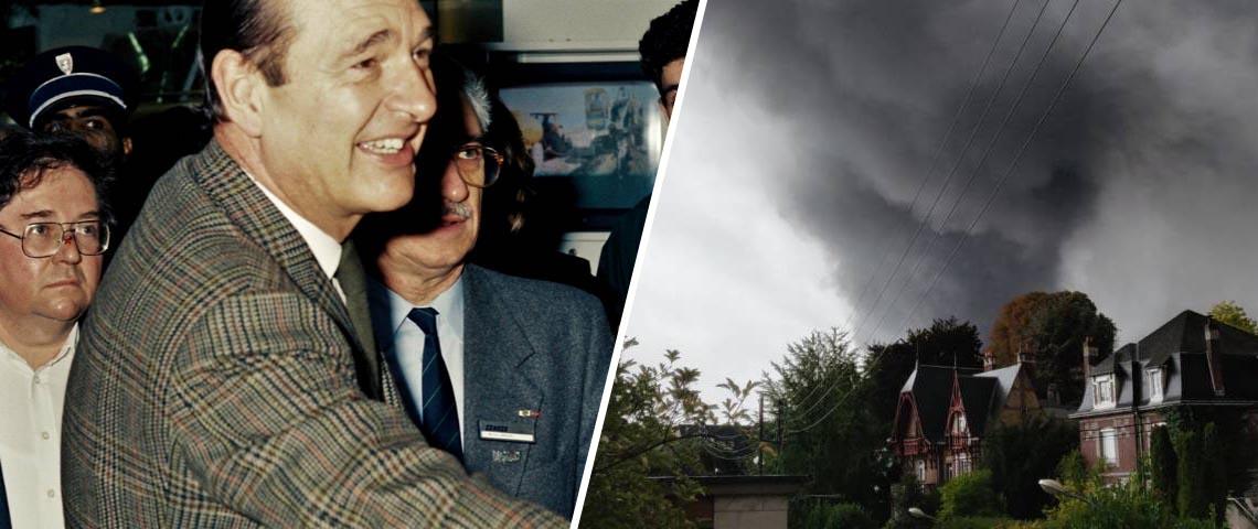 une photo de Chirac à côté d'une photo montrant l'incendie de Lubrizol.